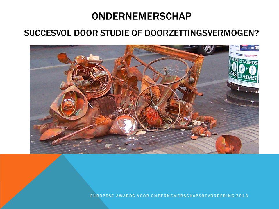 EUROPESE AWARDS VOOR ONDERNEMERSCHAPSBEVORDERING 2013 ONDERNEMERSCHAP SUCCESVOL DOOR STUDIE OF DOORZETTINGSVERMOGEN