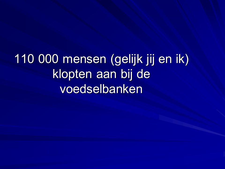 110 000 mensen (gelijk jij en ik) klopten aan bij de voedselbanken