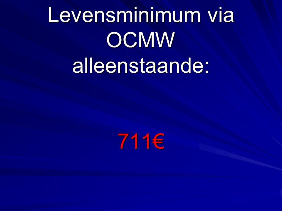 Levensminimum via OCMW alleenstaande: 711€
