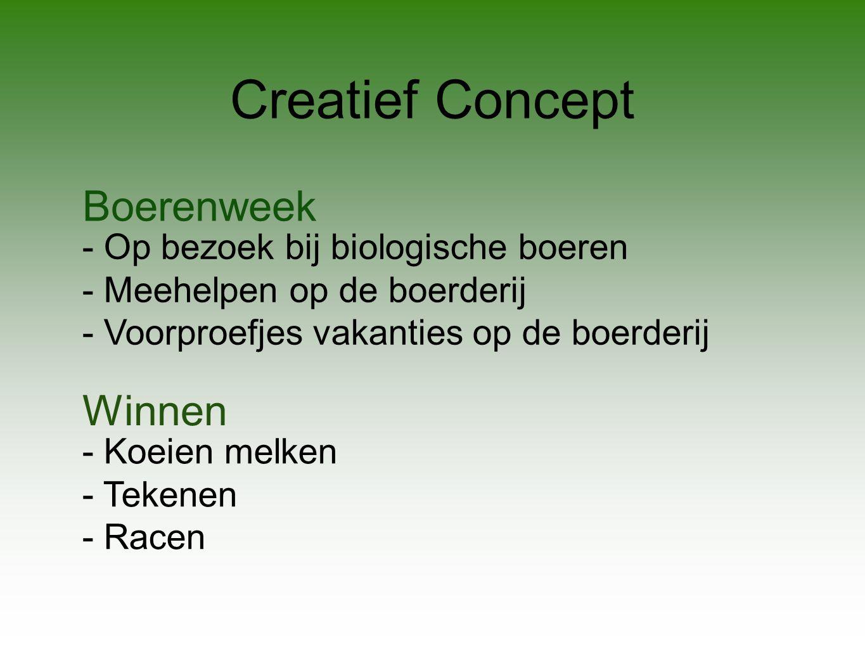 Creatief Concept Boerenweek - Op bezoek bij biologische boeren - Meehelpen op de boerderij - Voorproefjes vakanties op de boerderij Winnen - Koeien melken - Tekenen - Racen