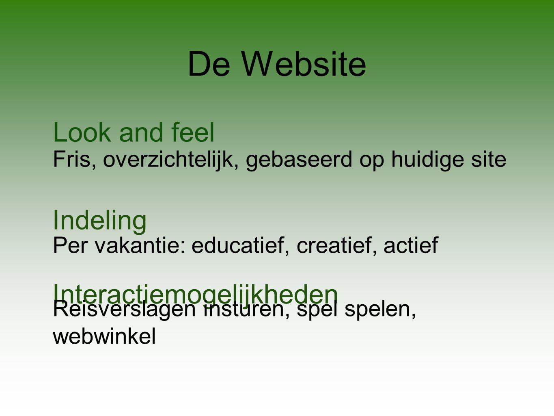 De Website Look and feel Fris, overzichtelijk, gebaseerd op huidige site Indeling Per vakantie: educatief, creatief, actief Interactiemogelijkheden Reisverslagen insturen, spel spelen, webwinkel