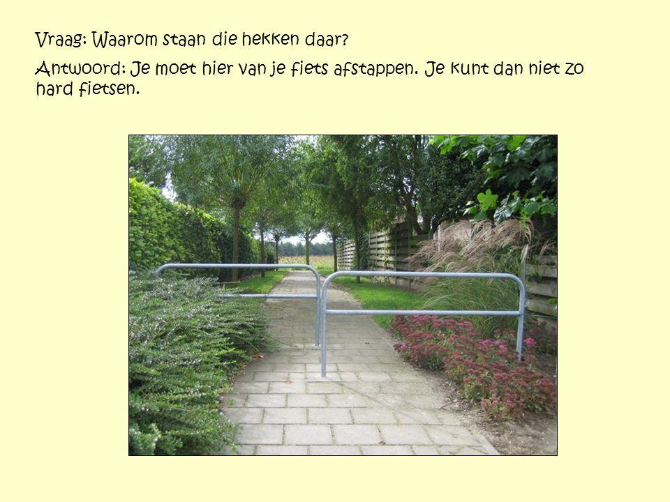 Vraag: Waarom staan die hekken daar? Antwoord: Je moet hier van je fiets afstappen. Je kunt dan niet zo hard fietsen.
