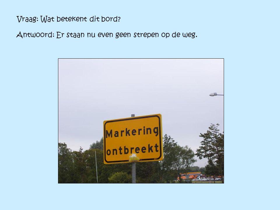 Vraag: Wat betekent dit bord? Antwoord: Er staan nu even geen strepen op de weg.