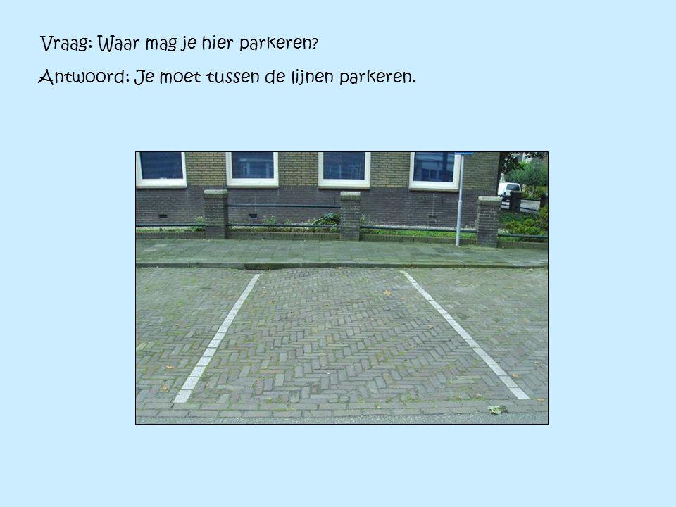 Vraag: Waar mag je hier parkeren? Antwoord: Je moet tussen de lijnen parkeren.