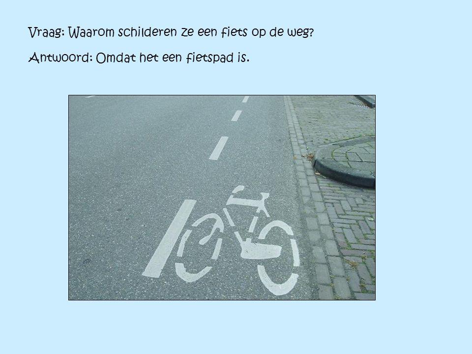 Vraag: Waarom schilderen ze een fiets op de weg? Antwoord: Omdat het een fietspad is.