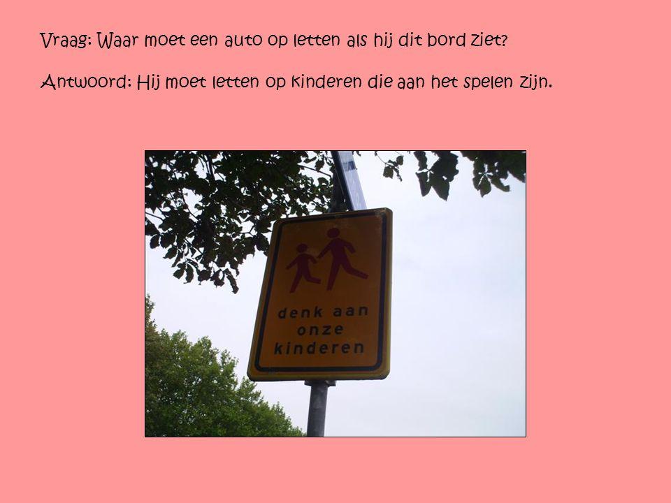 Vraag: Waar moet een auto op letten als hij dit bord ziet? Antwoord: Hij moet letten op kinderen die aan het spelen zijn.