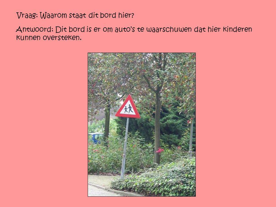 Vraag: Waarom staat dit bord hier? Antwoord: Dit bord is er om auto's te waarschuwen dat hier kinderen kunnen oversteken.