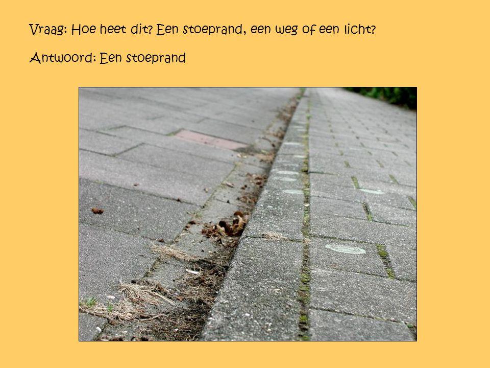Vraag: Hoe heet dit? Een stoeprand, een weg of een licht? Antwoord: Een stoeprand