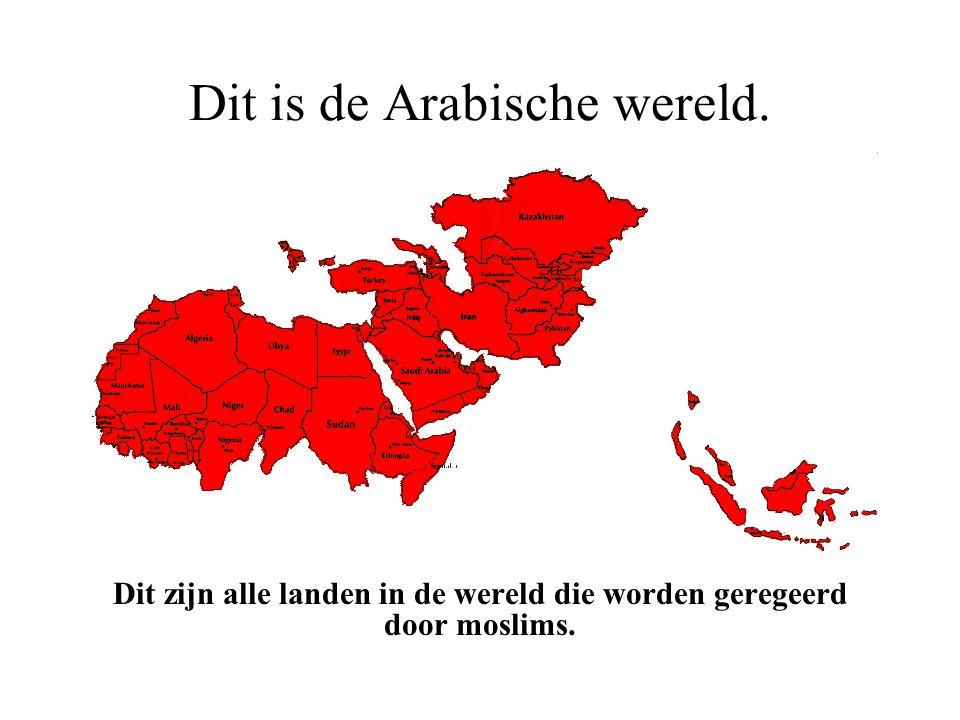 Dit is de Arabische wereld. Er zijn meer dan 1.100 miljoen moslims in de wereld.