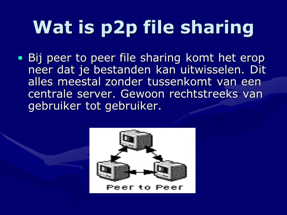 Wat is p2p file sharing Bij peer to peer file sharing komt het erop neer dat je bestanden kan uitwisselen.