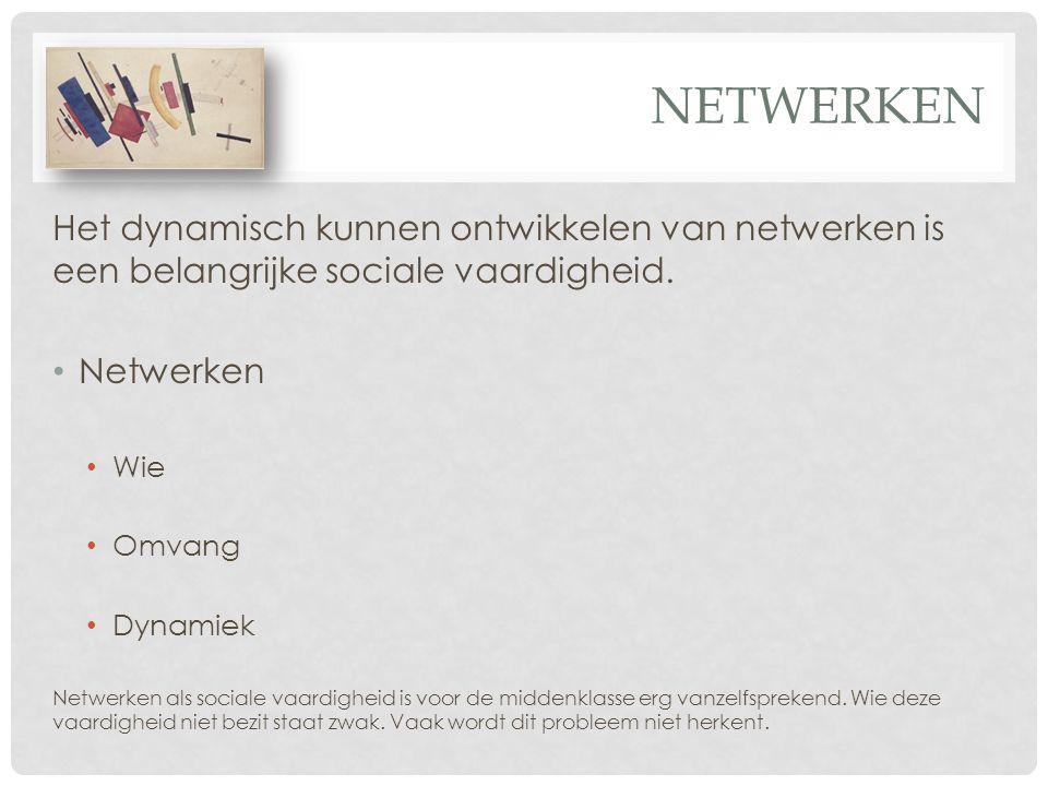 NETWERKEN Het dynamisch kunnen ontwikkelen van netwerken is een belangrijke sociale vaardigheid. Netwerken Wie Omvang Dynamiek Netwerken als sociale v