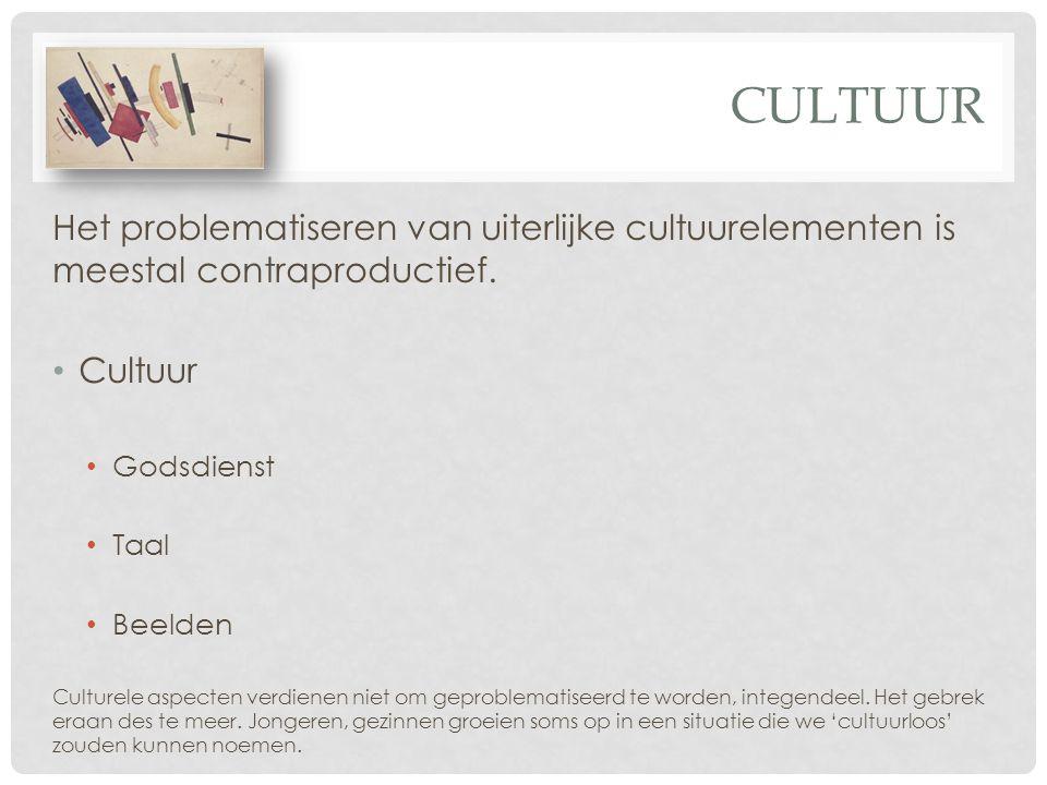 CULTUUR Het problematiseren van uiterlijke cultuurelementen is meestal contraproductief. Cultuur Godsdienst Taal Beelden Culturele aspecten verdienen