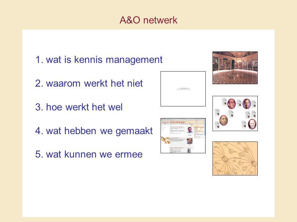 A&O netwerk 1. wat is kennis management 2. waarom werkt het niet 3.
