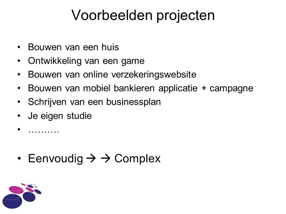 Voorbeelden projecten Bouwen van een huis Ontwikkeling van een game Bouwen van online verzekeringswebsite Bouwen van mobiel bankieren applicatie + cam