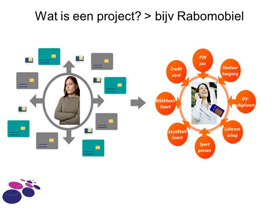 Wat is een project? > bijv Rabomobiel
