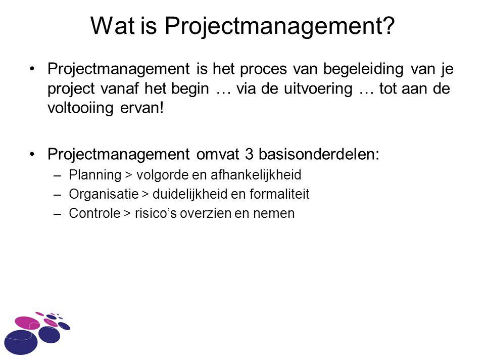 Wat is Projectmanagement? Projectmanagement is het proces van begeleiding van je project vanaf het begin … via de uitvoering … tot aan de voltooiing e
