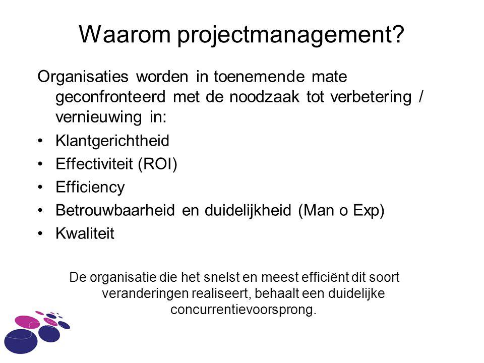 Waarom projectmanagement? Organisaties worden in toenemende mate geconfronteerd met de noodzaak tot verbetering / vernieuwing in: Klantgerichtheid Eff