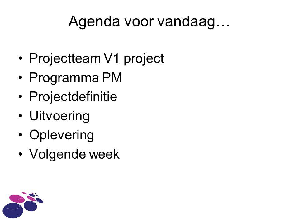 Agenda voor vandaag… Projectteam V1 project Programma PM Projectdefinitie Uitvoering Oplevering Volgende week