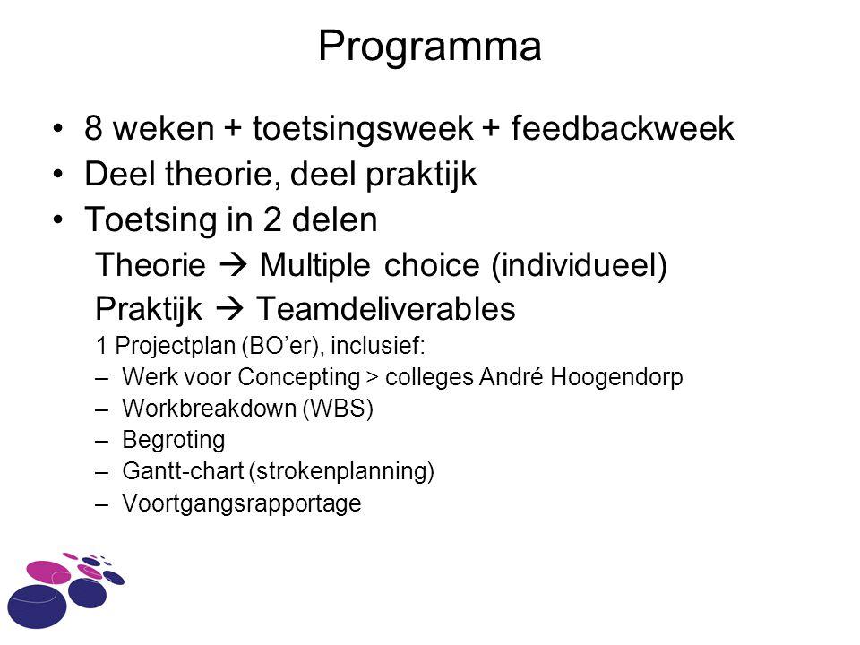 Programma 8 weken + toetsingsweek + feedbackweek Deel theorie, deel praktijk Toetsing in 2 delen Theorie  Multiple choice (individueel) Praktijk  Te