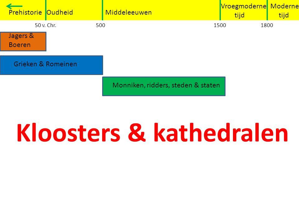 Moderne tijd Vroegmoderne tijd PrehistorieOudheidMiddeleeuwen Grieken en Romeinen 50 v. Chr.50015001800 Jagers & Boeren Grieken & Romeinen Monniken, r