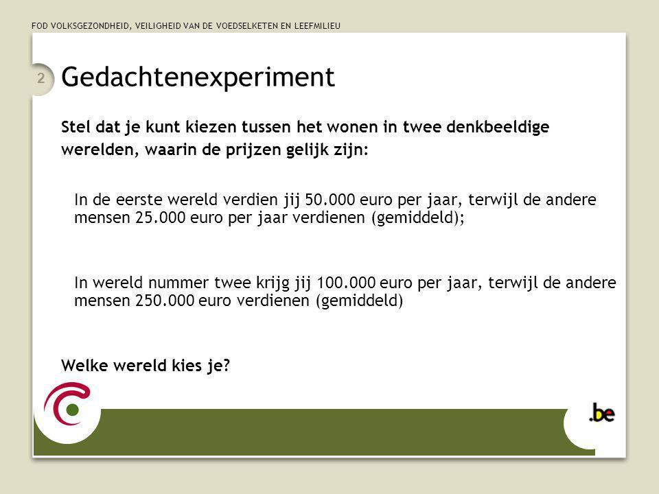 FOD VOLKSGEZONDHEID, VEILIGHEID VAN DE VOEDSELKETEN EN LEEFMILIEU 13 En hoe is situatie aan de Vlaamse overheid.