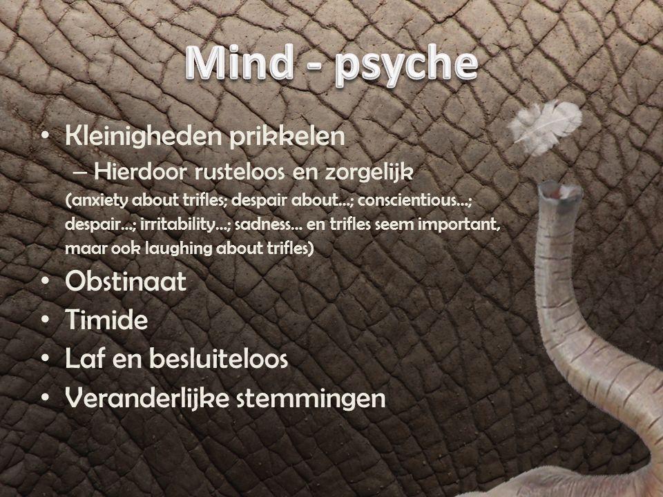 Slecht korte termijngeheugen Geen concentratie – Mentale inspanning -> rusteloosheid Ze lijken een beetje wazig Ze hebben weinig gedachten – Vatten niet samen en abstraheren niet Twijfel door daadloosheid van de geest