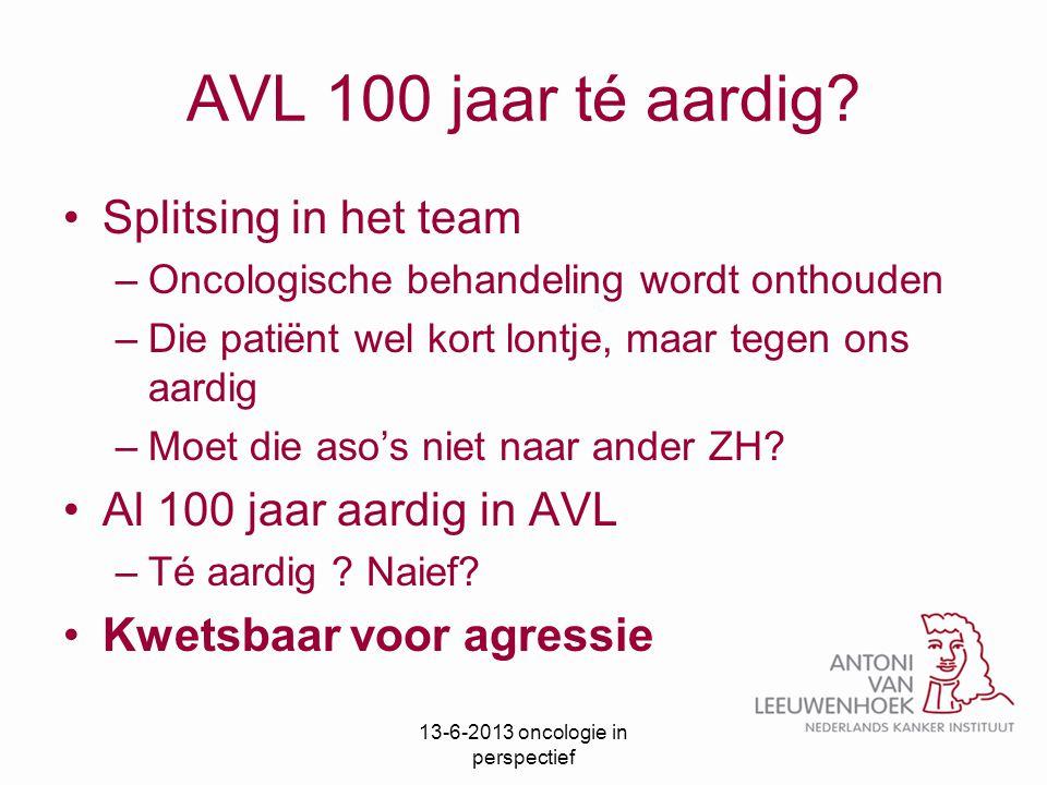 AVL 100 jaar té aardig? Splitsing in het team –Oncologische behandeling wordt onthouden –Die patiënt wel kort lontje, maar tegen ons aardig –Moet die