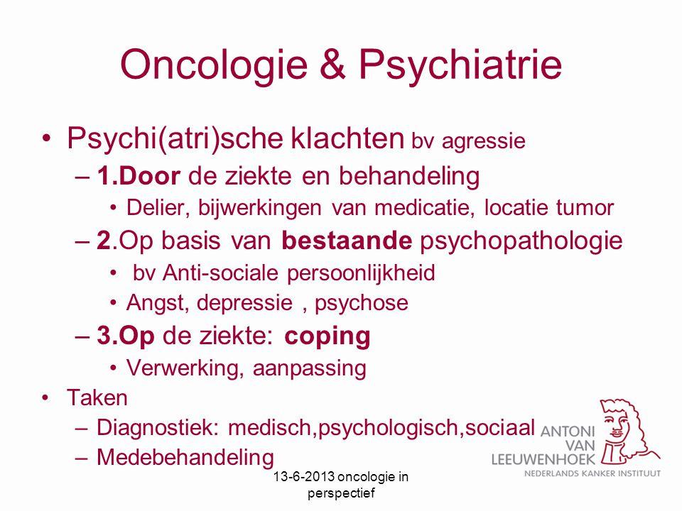 Oncologie & Psychiatrie Psychi(atri)sche klachten bv agressie –1.Door de ziekte en behandeling Delier, bijwerkingen van medicatie, locatie tumor –2.Op