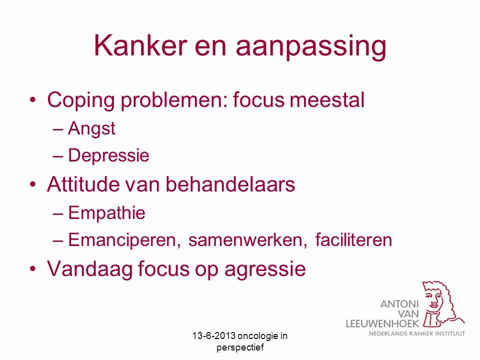 Kanker en aanpassing Coping problemen: focus meestal –Angst –Depressie Attitude van behandelaars –Empathie –Emanciperen, samenwerken, faciliteren Vand