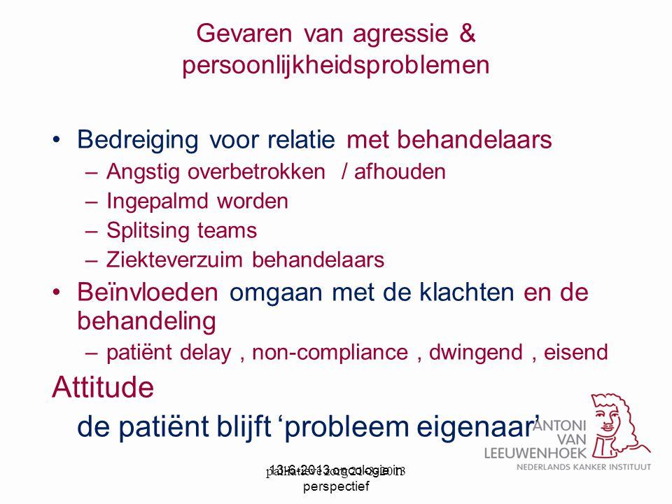 palliatieve zorg 21-3-2013 Gevaren van agressie & persoonlijkheidsproblemen Bedreiging voor relatie met behandelaars –Angstig overbetrokken / afhouden