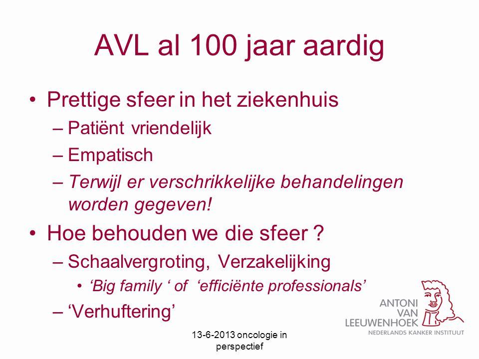 AVL al 100 jaar aardig Prettige sfeer in het ziekenhuis –Patiënt vriendelijk –Empatisch –Terwijl er verschrikkelijke behandelingen worden gegeven! Hoe