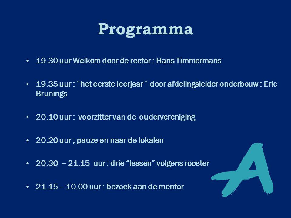 """Programma 19.30 uur Welkom door de rector : Hans Timmermans 19.35 uur : """"het eerste leerjaar """" door afdelingsleider onderbouw : Eric Brunings 20.10 uu"""