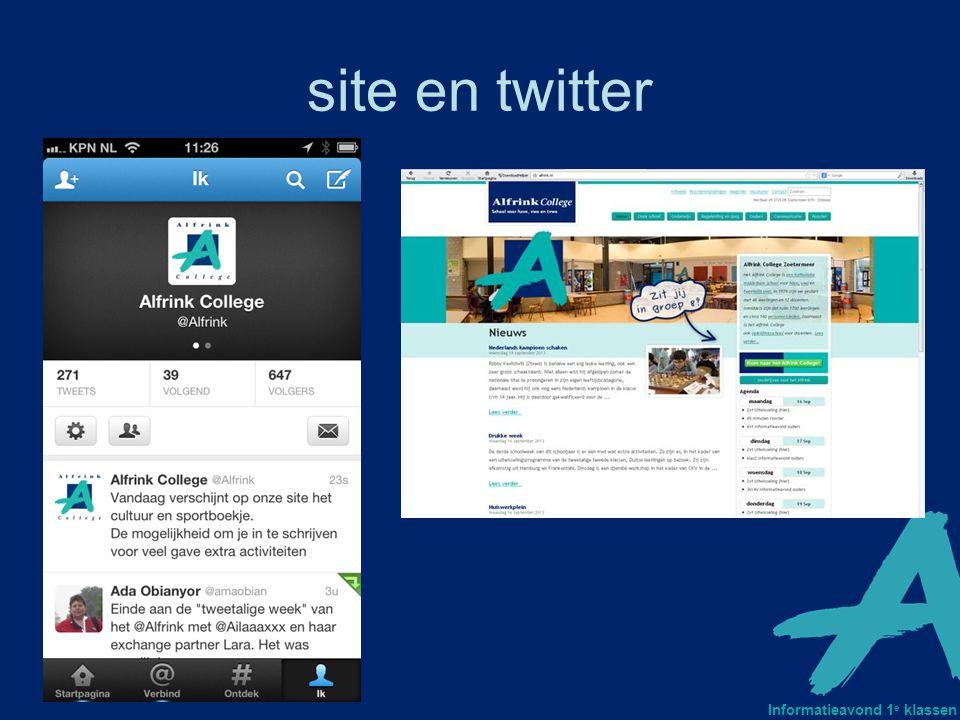 Informatieavond 1 e klassen site en twitter