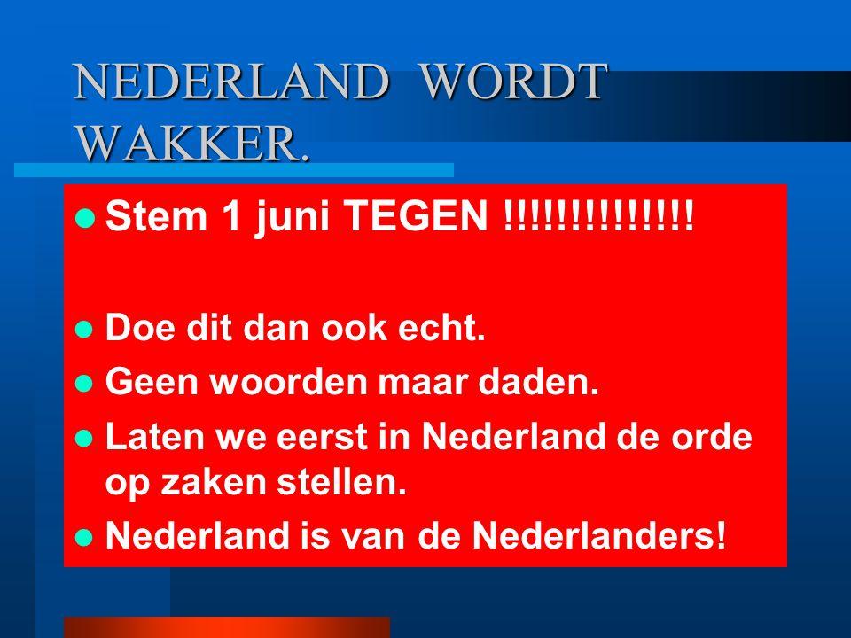 NEDERLAND WORDT WAKKER. Stem 1 juni TEGEN !!!!!!!!!!!!!! Doe dit dan ook echt. Geen woorden maar daden. Laten we eerst in Nederland de orde op zaken s