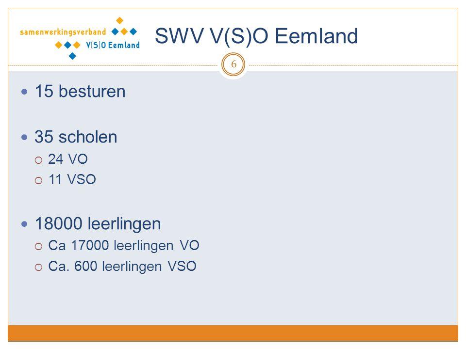 SWV V(S)O Eemland 15 besturen 35 scholen  24 VO  11 VSO 18000 leerlingen  Ca 17000 leerlingen VO  Ca.