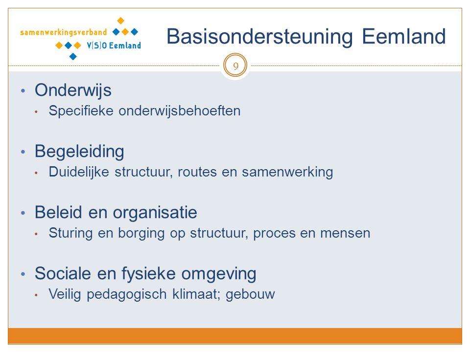 Basisondersteuning Eemland 9 Onderwijs Specifieke onderwijsbehoeften Begeleiding Duidelijke structuur, routes en samenwerking Beleid en organisatie Sturing en borging op structuur, proces en mensen Sociale en fysieke omgeving Veilig pedagogisch klimaat; gebouw