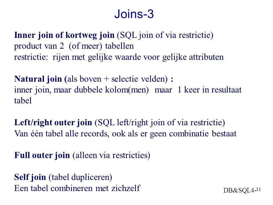DB&SQL4- 10 Joins-2 Theta join: product van 2 tabellen met restrictie: alleen rijen met ongelijke waarde voor een gelijk attribuut (, = ) VB: Geef par