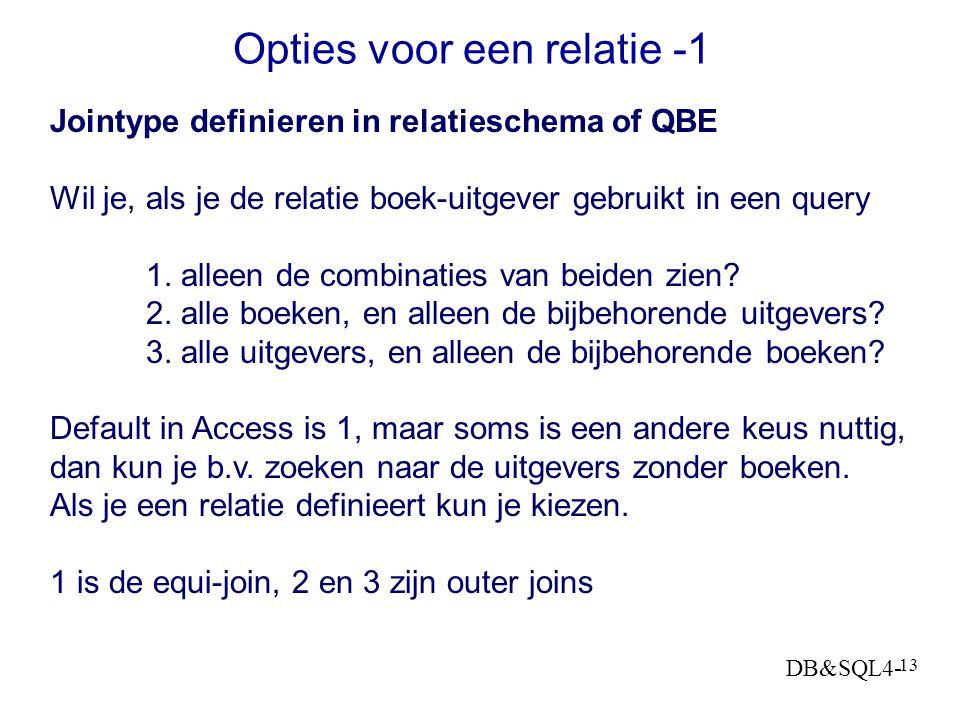 DB&SQL4- 12 Twee gerelateerde tabellen BOOKS PUBLISHERS Publisher en Book zijn aparte entiteitsklassen/ tabellen, de relatie wordt gelegd via PubID, d