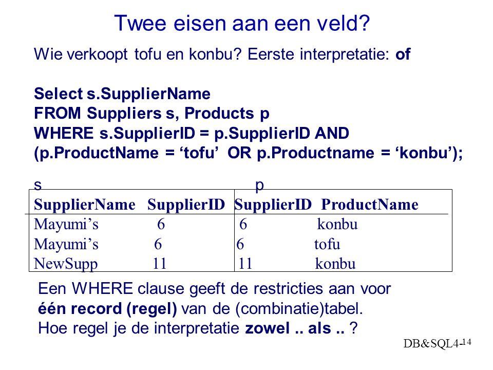 DB&SQL4- 13 Jointype definieren in relatieschema of QBE Wil je, als je de relatie boek-uitgever gebruikt in een query 1. alleen de combinaties van bei