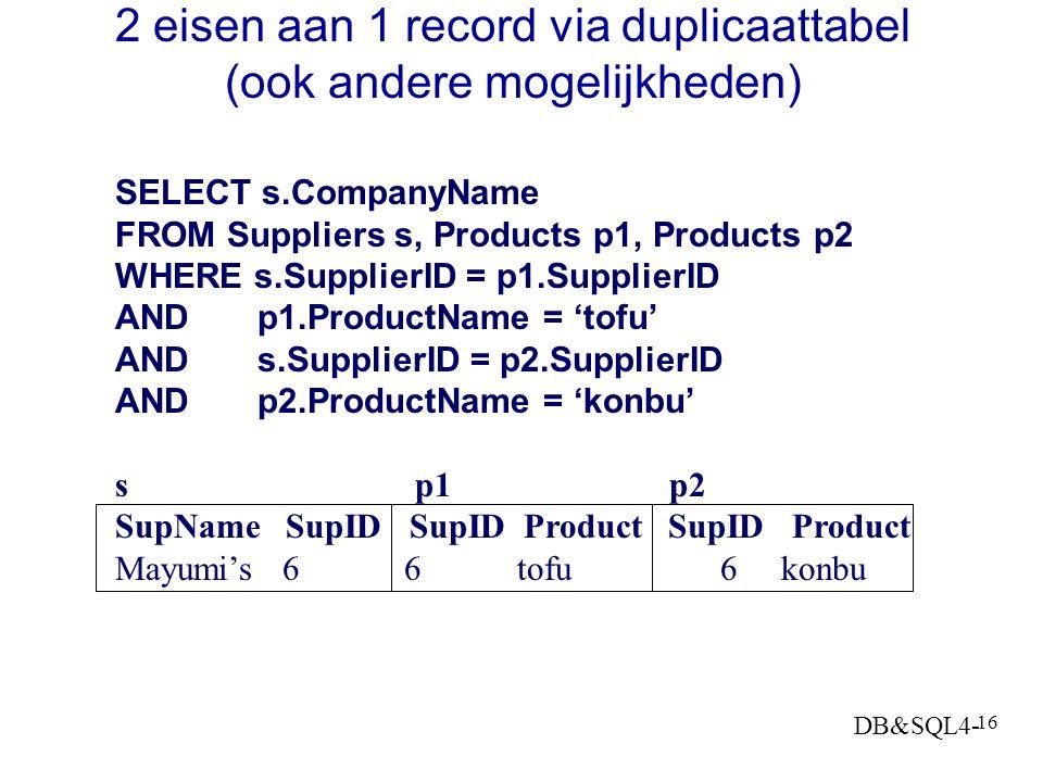 DB&SQL4- 15 Een tabel tweemaal raadplegen Stileren: Geef de naam van de Supplier s waarvoor geldt dat s verkoopt 'tofu' en s verkoopt 'konbu' oftewel: