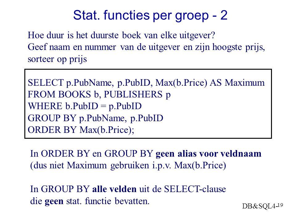 DB&SQL4- 18 Statistische functies per groep -1 Geef aantal boeken, totale prijs en gemiddelde prijs per PubID SELECT COUNT(*) AS N, SUM(Price) AS Sum,