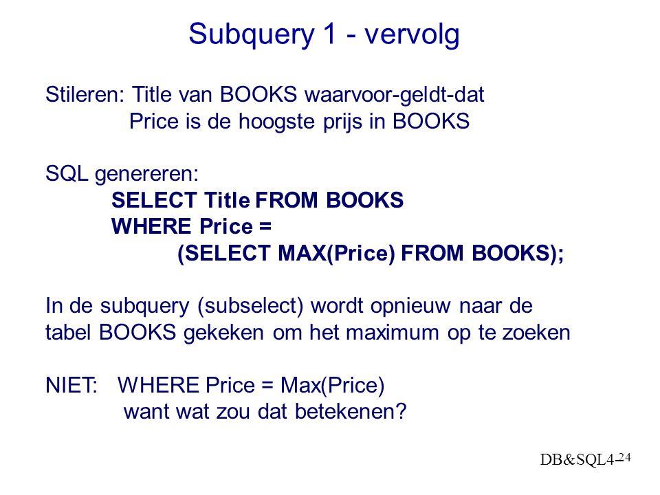 DB&SQL4- 23 Subquery 1 1. Wat is de hoogste boekenprijs in de collectie? SELECT MAX(b.Price) FROM BOOKS b; 2. Wat is het duurste boek uit de collectie