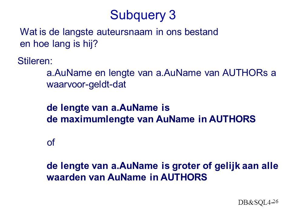 DB&SQL4- 25 Subquery 2 Geef me de boeken die duurder zijn dan gemiddeld Stileren: BOOKS b waarvoor geldt dat Price groter is dan de gemiddelde Price v