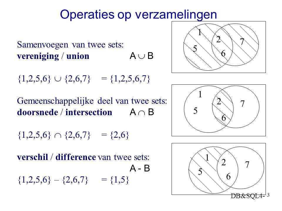 DB&SQL4- 3 Operaties op verzamelingen Samenvoegen van twee sets: vereniging / union A  B {1,2,5,6}  {2,6,7}= {1,2,5,6,7} Gemeenschappelijke deel van twee sets: doorsnede / intersectionA  B {1,2,5,6}  {2,6,7}= {2,6} verschil / difference van twee sets: A - B {1,2,5,6} – {2,6,7}= {1,5} 1 2 5 6 7 1 2 5 6 7 1 2 5 6 7