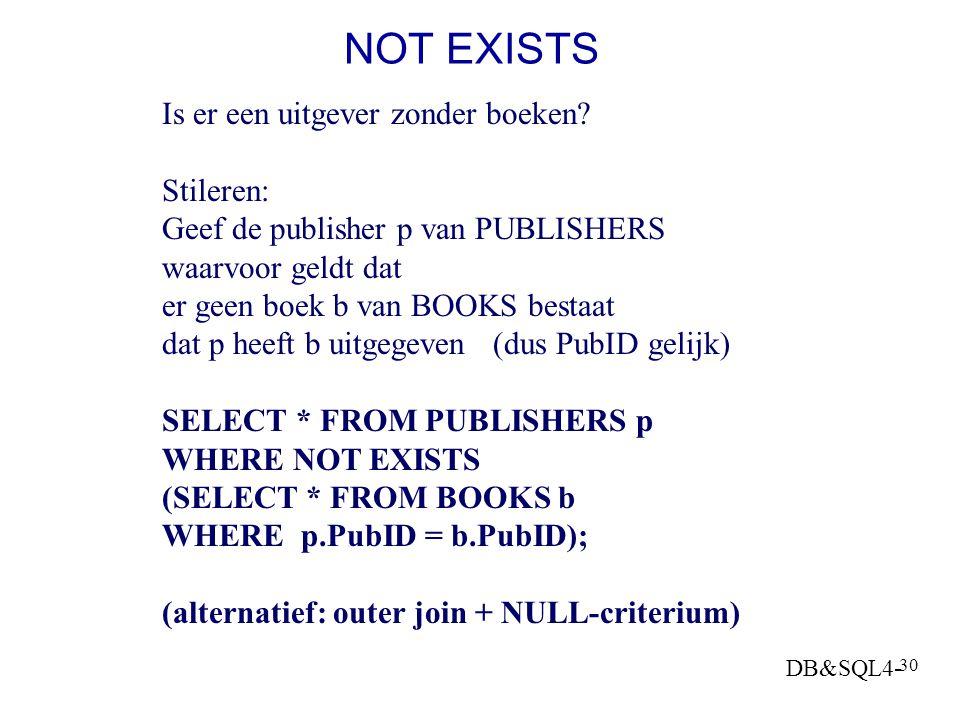 DB&SQL4- 29 2 eisen aan 1 record: Via Exists EXISTS: geeft aan dat een subselect een resultaat heeft (de set niet leeg is) SELECT s.CompanyName FROM S