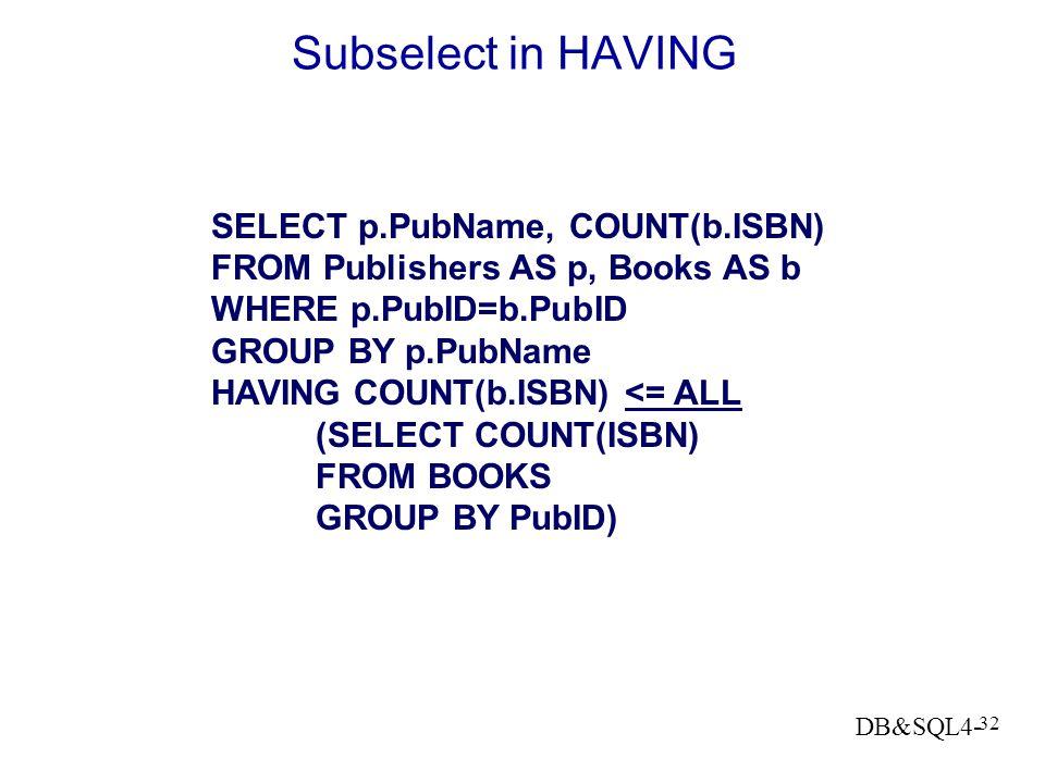 DB&SQL4- 31 Statistische eisen aan een groep Uitgevers met minder dan 3 boeken: SELECT p.PubName FROM PUBLISHERS p, BOOKS b WHERE p.PubID = b.PubID GR