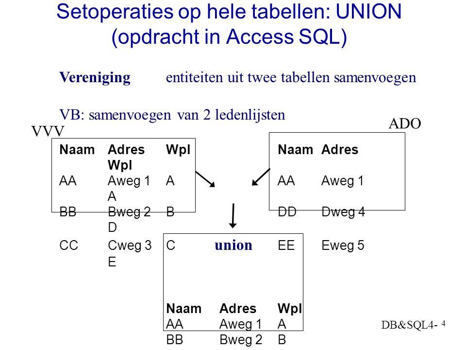DB&SQL4- 3 Operaties op verzamelingen Samenvoegen van twee sets: vereniging / union A  B {1,2,5,6}  {2,6,7}= {1,2,5,6,7} Gemeenschappelijke deel va