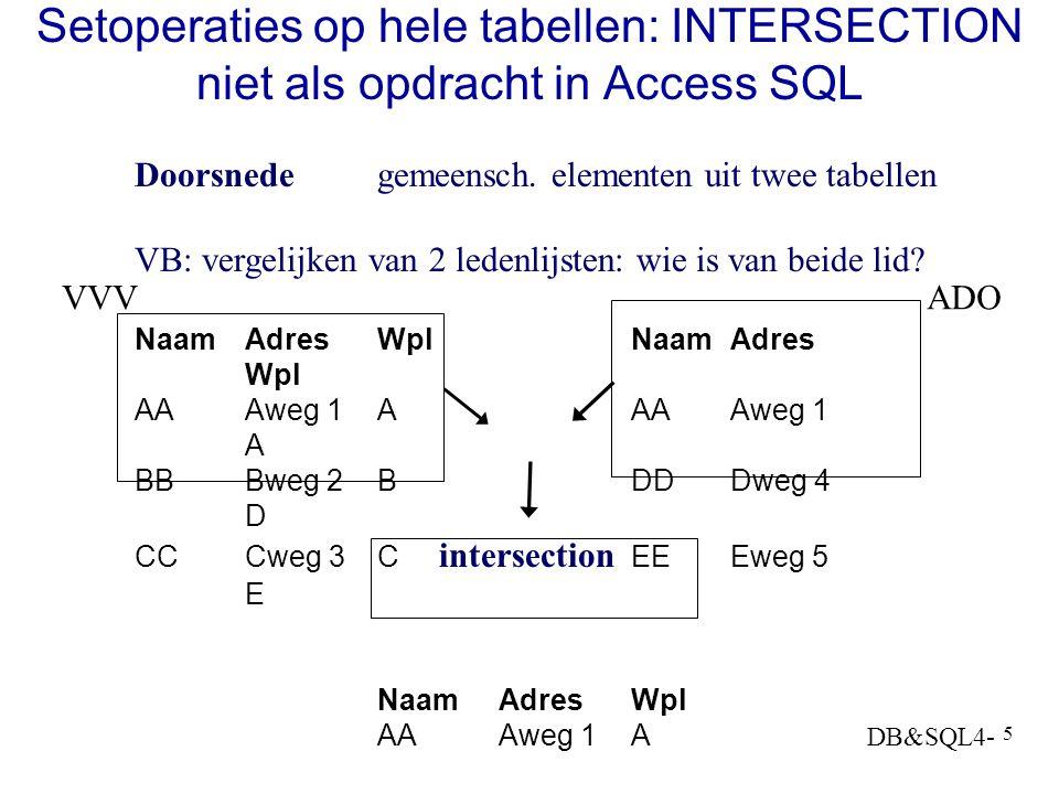 DB&SQL4- 5 Setoperaties op hele tabellen: INTERSECTION niet als opdracht in Access SQL Doorsnedegemeensch.