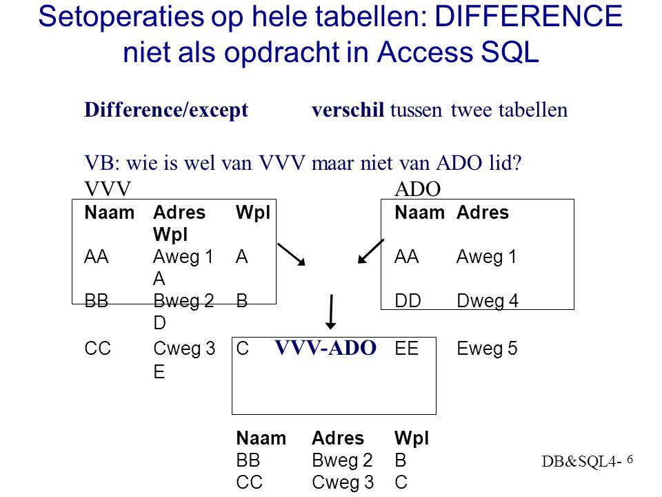 DB&SQL4- 6 Setoperaties op hele tabellen: DIFFERENCE niet als opdracht in Access SQL Difference/exceptverschil tussen twee tabellen VB: wie is wel van VVV maar niet van ADO lid.
