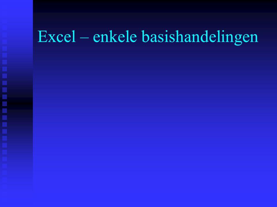 Excel – enkele basishandelingen